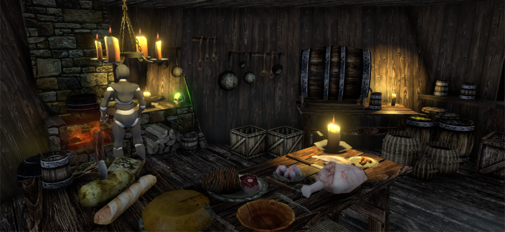 Kitchen in a ship. The big stone fire place is wrong here, but its just a quick prototype.