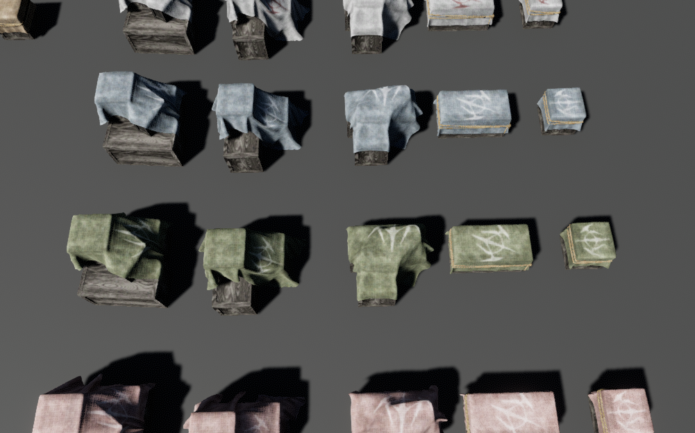 Covered boxes color variations